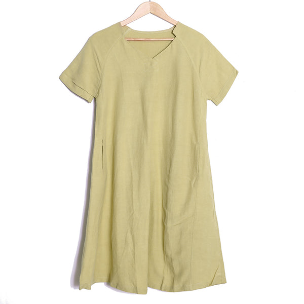 V Neck Literature Long Sleeves Khaki Yellow Women Dress - Buykud