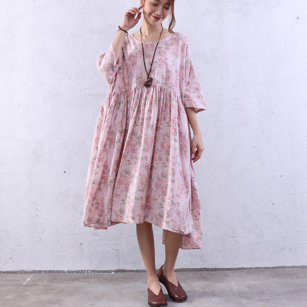 Floral Splicing Summer Loose Pink Dress - Buykud