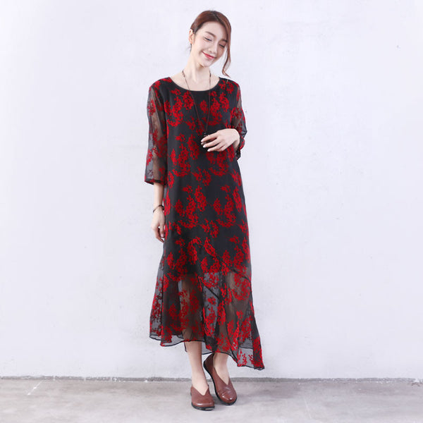 Splicing Women Floral Silk Summer Loose Cotton Red Dress - Buykud