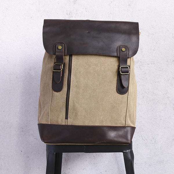 Canvas Leather Buckled Zipper Khaki Backpack