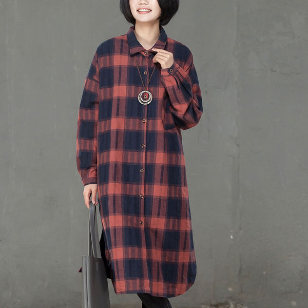 Autumn Winter Casual Lattice Thicker Red Long Shirt For Women