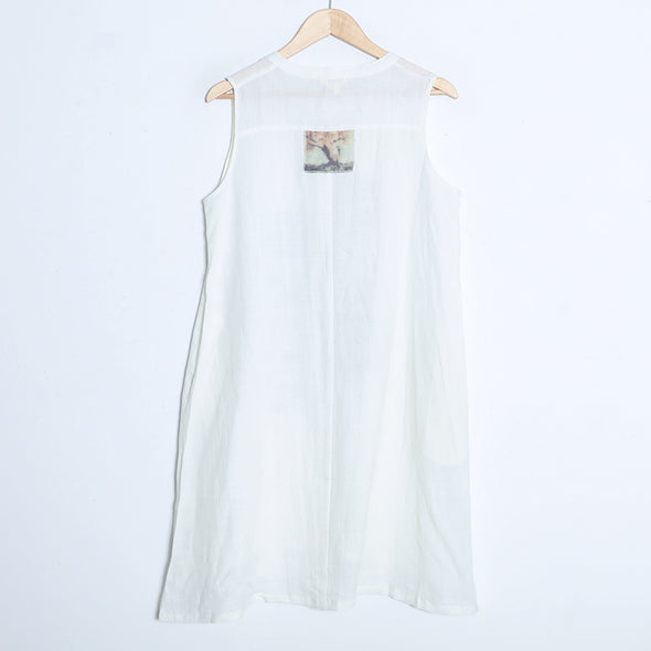 Single Breasted Buttons Sleeveless Pockets Translucent Dress - Buykud