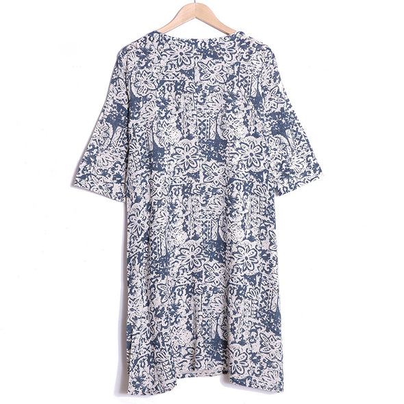 Chinese Style Blue Floral Printing Three Quarter Sleeve Dress For Women - Buykud