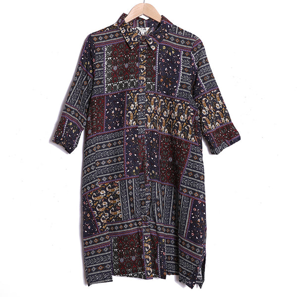 Autumn Retro Long Sleeve Printing Loose Dress For Women - Buykud