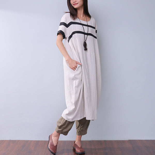 Linen Casual Splicing Women Loose Dress - Buykud