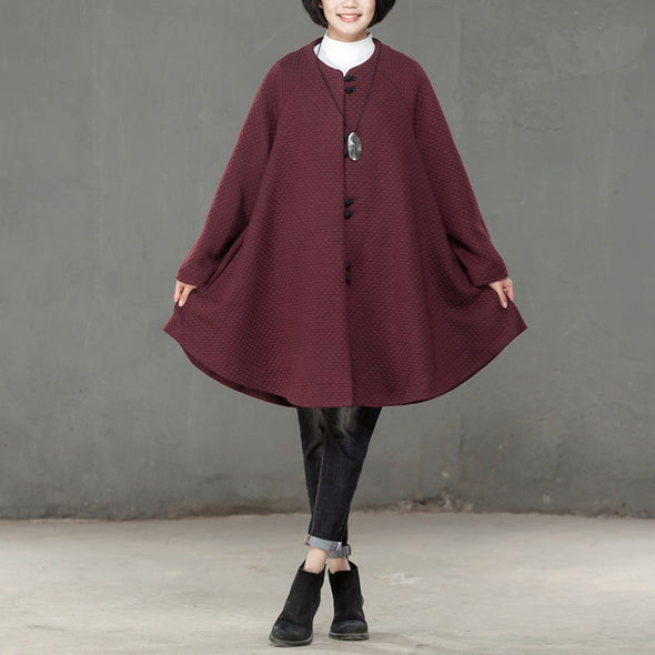 Loose Fall Winter Women Single Breasted Wine Red Coat - Buykud