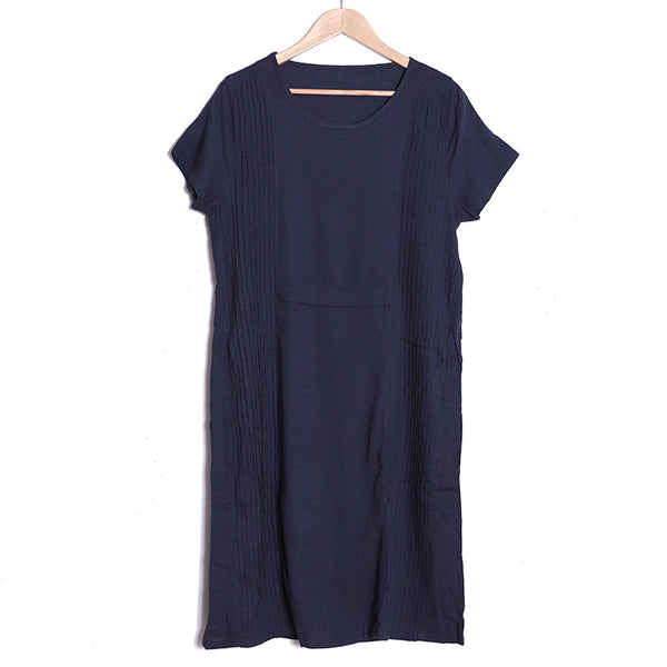 Summer Folded Round Neck Short Sleeve Navy Blue Dress For Women - Buykud