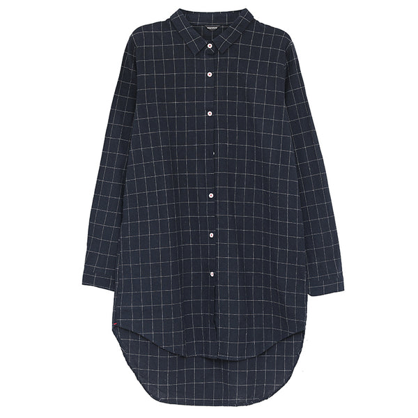 Women Loose Casual Lattice Navy Blue Shirt Dress - Buykud