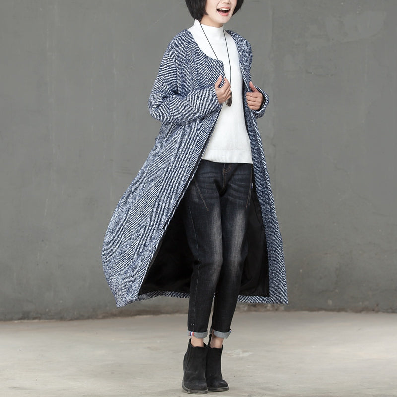 Winter Women Single Breasted Wool Polyester Long Coat - Buykud