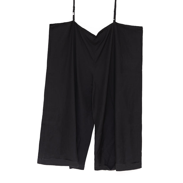 Loose Plus Size Women Black Polyester Jumpsuits - Buykud