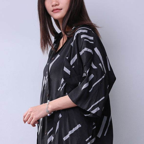 Loose Stripe Splicing Pocket Women Black Dress - Buykud