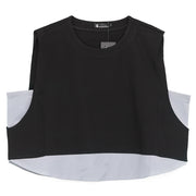 Women's Loose Round Neck Sleeveless Black And Gray Vest - Buykud
