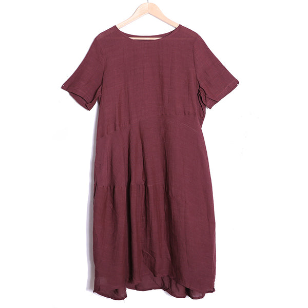 Summer Short Sleeve Loose Linen Dress For Women - Buykud