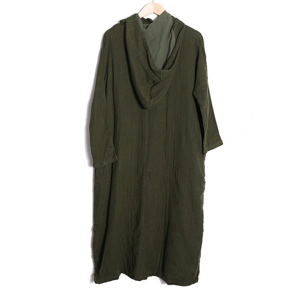 Women Hoodies Green Retro Long Sleeve Frogs Pockets Dress - Buykud