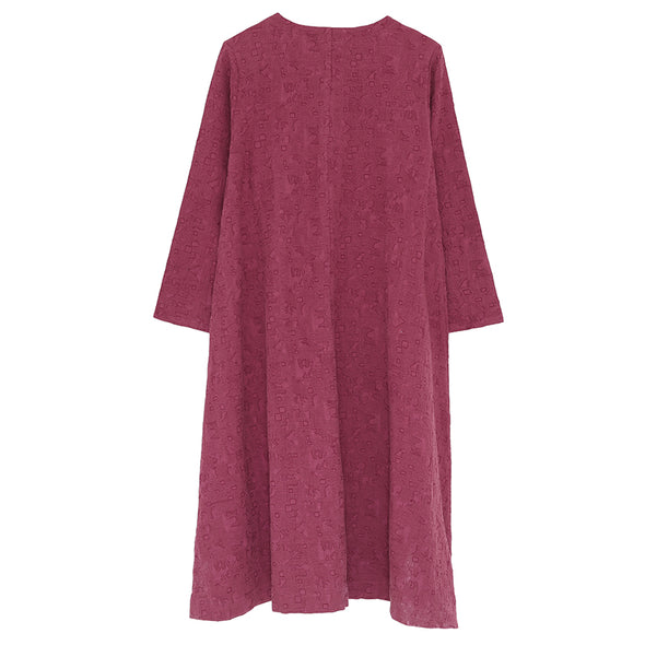 Linen Cotton Women Round Neck Long Sleeve Embroidery Dress - Buykud