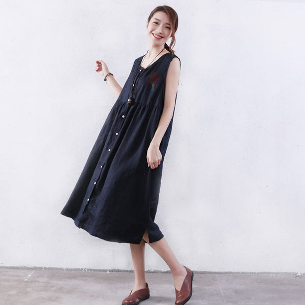 Women Summer Loose Linen Button Applique Pocket Black Vest Dress