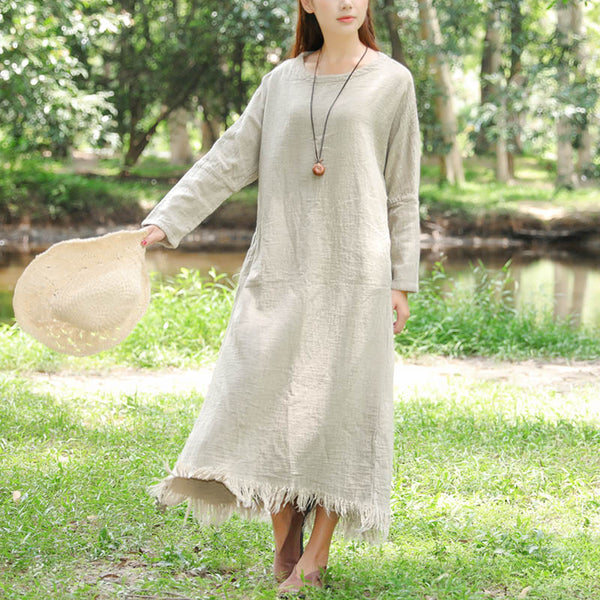 Women Retro Long Sleeve Pockets Tassel Beige Dress - Buykud