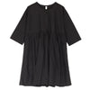 Loose Round Neck Folded Cotton Black Women Dress - Buykud