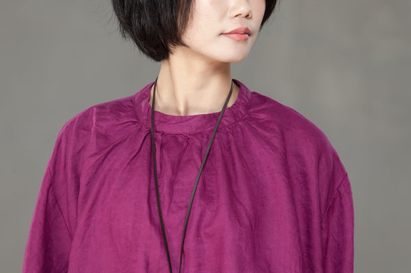 Cotton Linen Women Stand Collar Pleated Puff Sleeve Shirt - Buykud