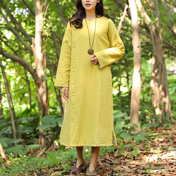 Thick Shoulder Sleeves Retro Side Slit Keep Warm Yellow Women Dress - Buykud