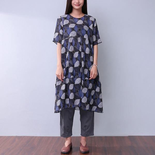 Silk Women Loose Splicing Summer Printing Casual Blue Dress - Buykud