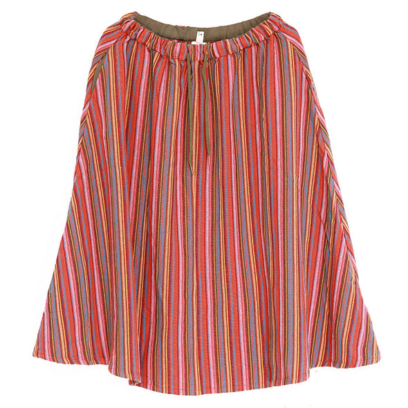 Loose Stripe Colorful Women Autumn Linen Skirts - Buykud