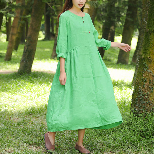Women Flax Green Retro Long Sleeve Pleated Pockets Button Dress - Buykud