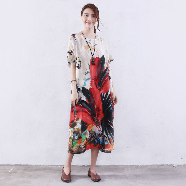 Women Summer Loose Printing Pocket Silk Floss Colorful Dress