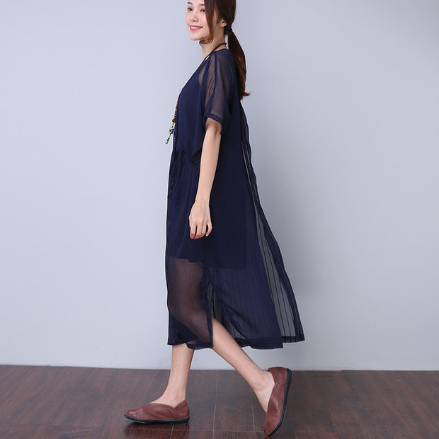 Casual Splicing Strap Striped Women Blue Dress - Buykud