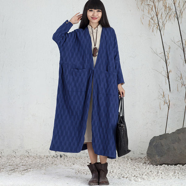 Women Cotton Linen Chic Jacquard Long Sleeve Cardigan Blue Coat - Buykud