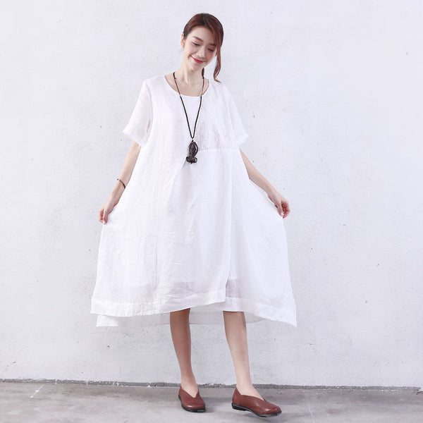 Splitting Women Embroidered Loose Cotton White Dress - Buykud