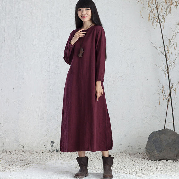 Embroidered Ethnic Women Round Neck Long Sleeve Purple Red Maxi Dress - Buykud