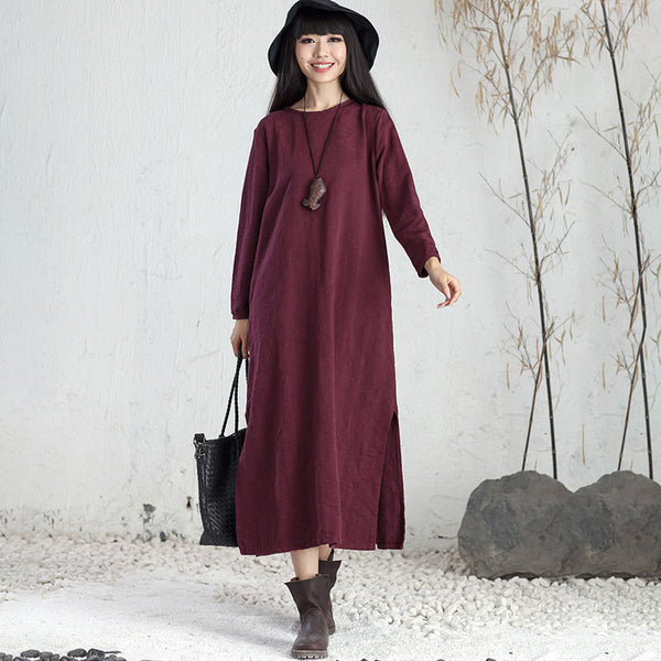 Exquisite Embroidered Ethnic Women Round Neck Long Sleeve Purple Red Maxi Dress - Buykud