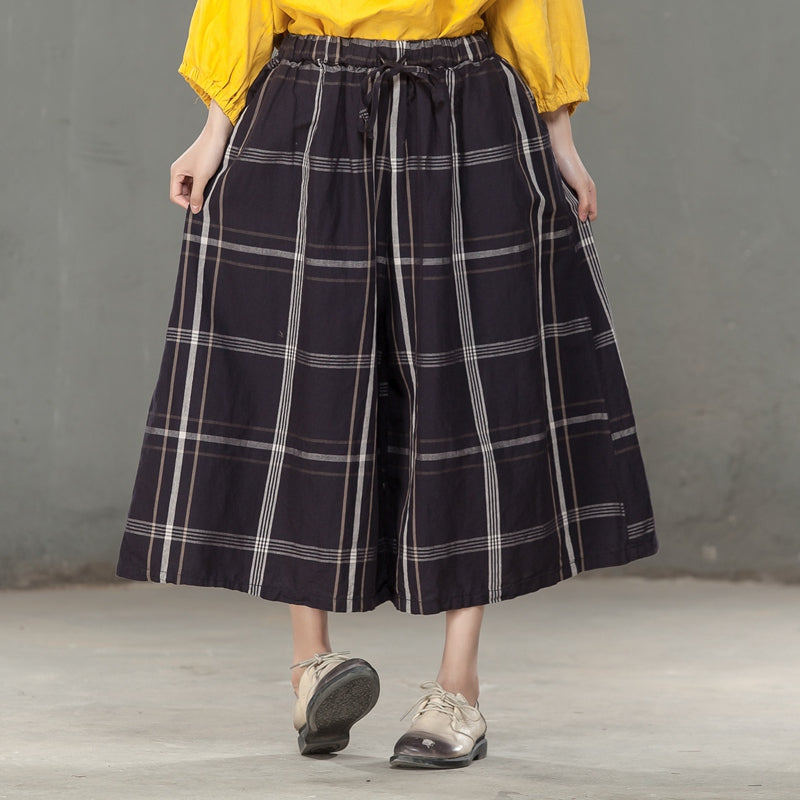 Loose Lattice Casual Women Lacing Blue Wide Leg Pants - Buykud
