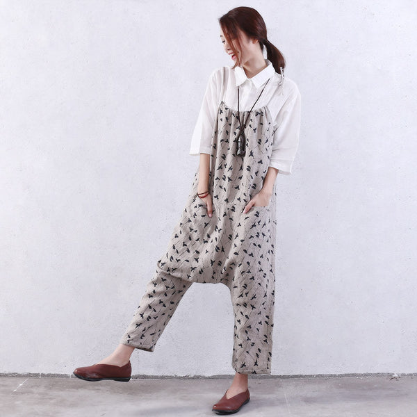Casual Loose Line Women Printing Overalls
