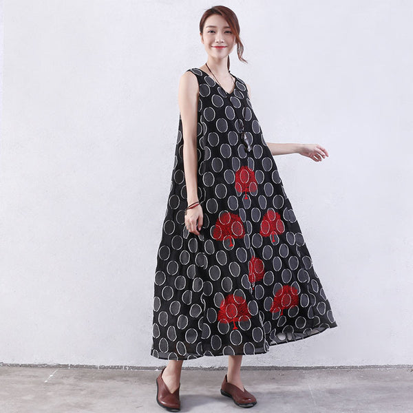 Dot Women Embroidered Loose Black Dress