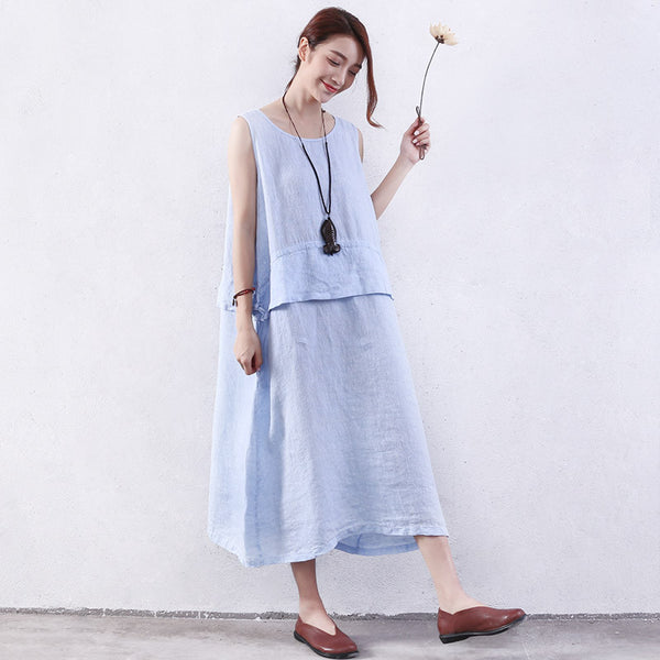 Women Summer Casual Flounces Strap Pocket Linen Blue Dress - Buykud