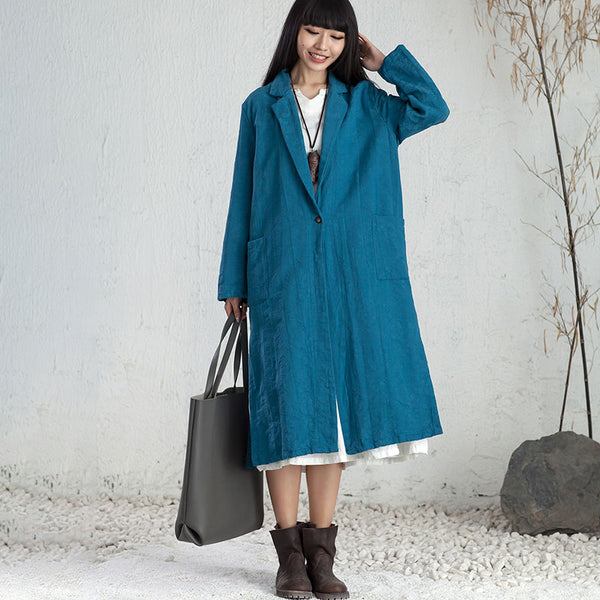 Elegant Women Delicate Embroidery Long Sleeve Blue Cardigan Splitting Coat - Buykud