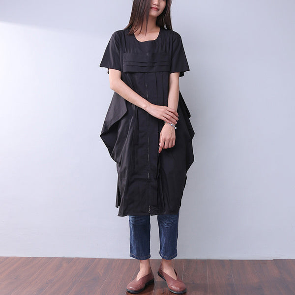 Splicing Loose Summer Women Zipper Irregular Splitting Black Dress
