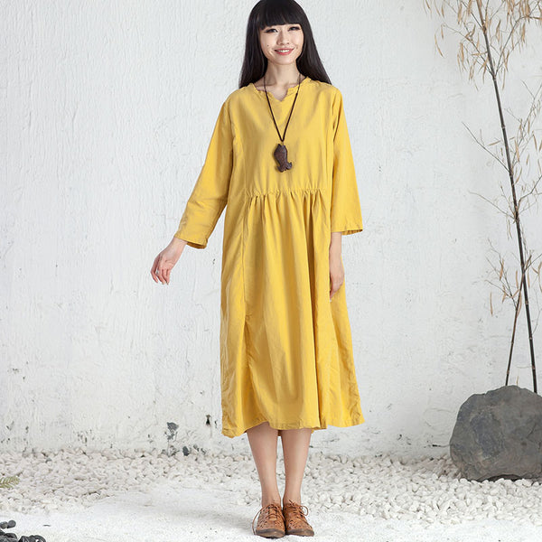 Women Casual Three Quarter Sleeve Pleated Pockets Dress - Buykud