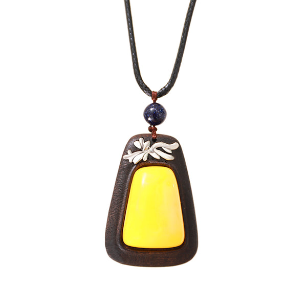 Vintage Wood Metal Trim Beeswax Pendant Necklace - Buykud