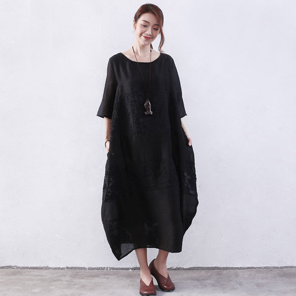Embroidered Women Summer Splicing Loose Black Dress