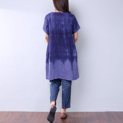 Casual Retro Applique Dyeing Women Dress - Buykud