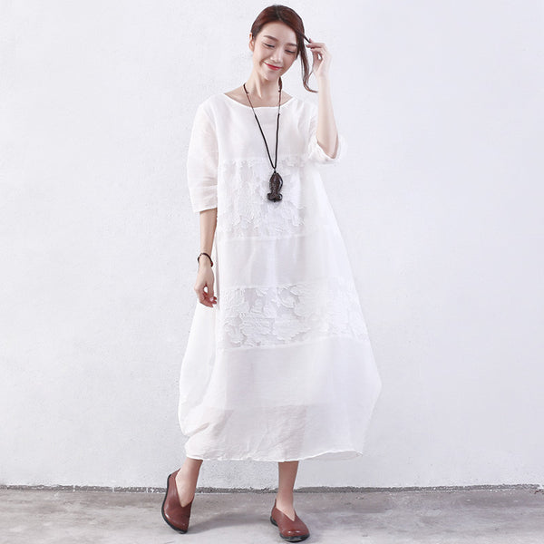 Embroidered Women Summer Splicing Loose White Dress