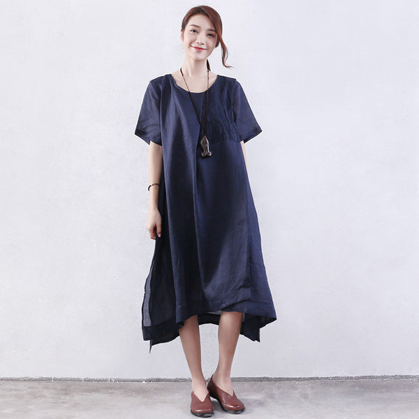Splitting Women Embroidered Loose Cotton Blue Dress