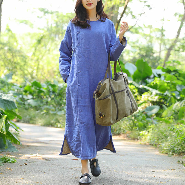 Thick Shoulder Sleeves Retro Side Slit Keep Warm Blue Women Dress - Buykud