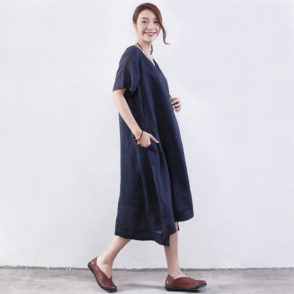 Splitting Women Embroidered Loose Cotton Blue Dress - Buykud