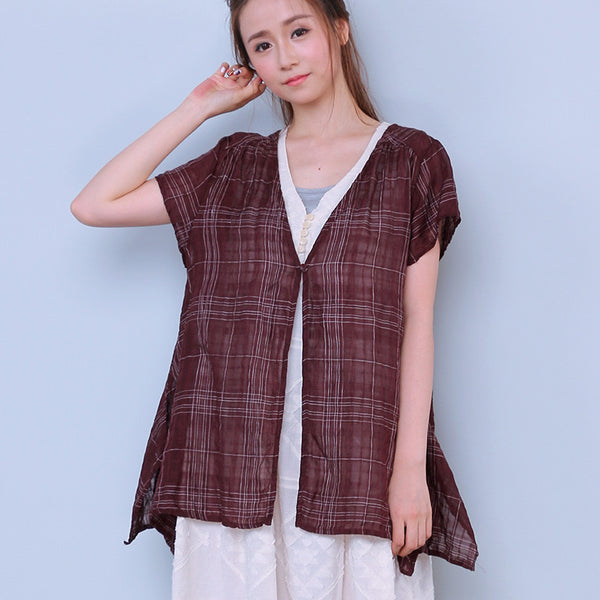 Women Button Red Lattice Outerwear Shirt - Buykud