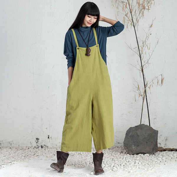 Women Literature Loose Cotton Linen Green Strap Jumpsuit - Buykud