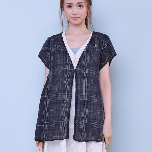 Women Button Blue Lattice Outerwear Shirt